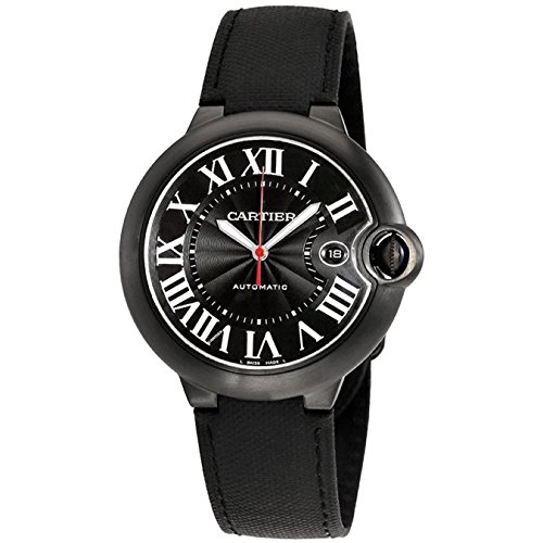 Cartier Herren Armbanduhr 42mm Armband Leder Schwarz Gehaeuse Edelstahl Automatik Analog WSBB0015