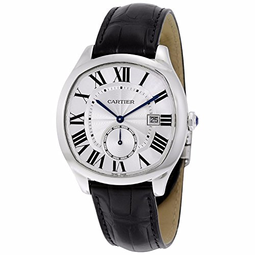 Cartier Herren Armbanduhr 40mm Armband Leder Schwarz Gehaeuse Edelstahl Saphirglas Automatik WSNM0004