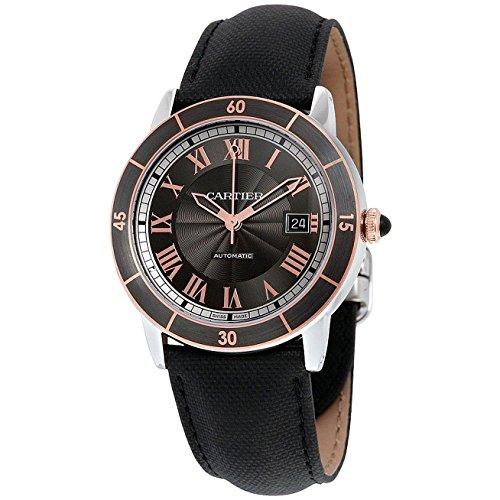 Cartier Herren Armbanduhr 42mm Armband Leder Schwarz Gehaeuse Edelstahl Automatik Zifferblatt Grau W2RN0005