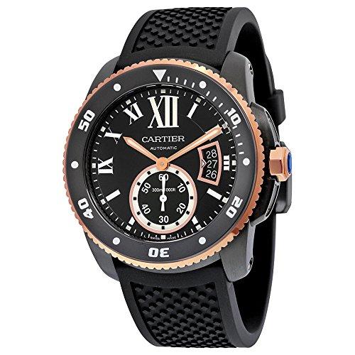 Cartier Herren Armbanduhr 42mm Armband Kautschuk Schwarz Gehaeuse Edelstahl Automatik Analog W2CA0004