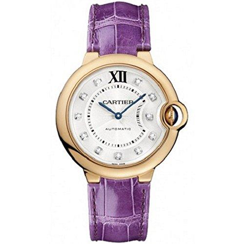 Cartier Ballon Bleu De Cartier Unisex Armbanduhr Armband Leder Rosa Automatik Zifferblatt Silber WE902028