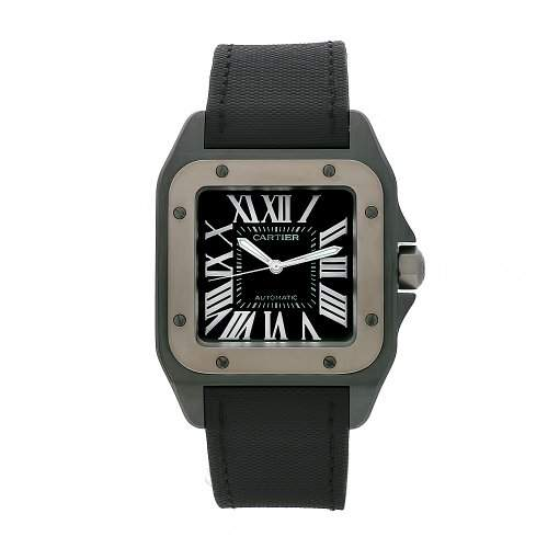 Cartier Damen-Armbanduhr Analog Automatik Leder Schwarz W2020010