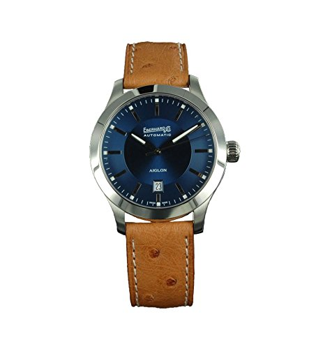 Watch Eberhard Aiglon Grande Taille Automatic Steel Blue Ostrich Leather 41030 6 CP