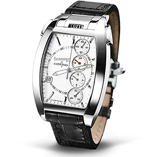 Eberhard Co Chrono 4 Temerario Uhr Armbanduhr Automatik Edelstahl Gehaeuse Leder Armband