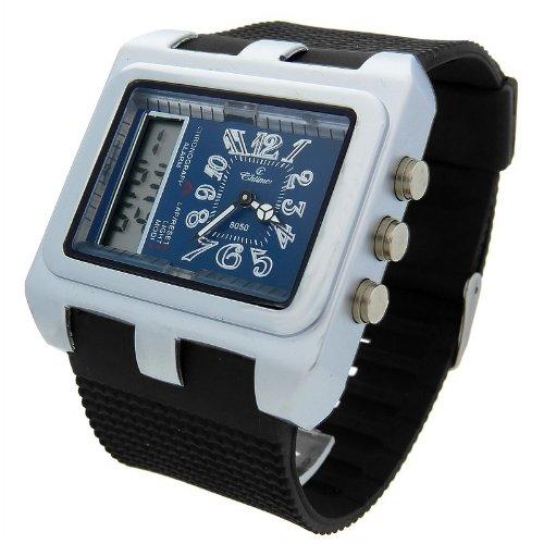 Zeigt Analog Digital Herren Armband Kunststoff schwarz Zifferblatt Rechteck Marke Chtime 8050