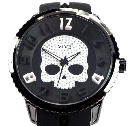 Schaedel Skull Scull Totenkopf Sportliche Robuste 3D-Design Armbanduhr fuer Herren Herrenarmbanduhr Elegantes Design Black White Skull Edition Titan Farben