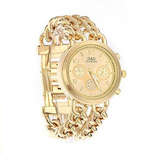 Ecloud Shop Golden rund Dial Analog Armband Handgelenk Kette Link Armbanduhr Armbanduhr Lady