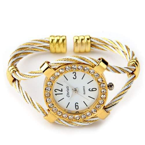 Ecloud Shop® Armbanduhr Armreif Armband Uhr Damenuhr Quarzur Gold