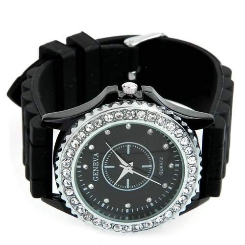 Ecloud Shop® 41mm Rund Metall Strass Silikon Armbanduhr Armband Uhr Armkette Damenuhr CHARM