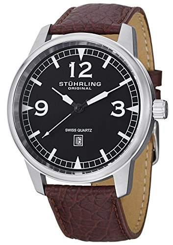 Stuhrling Original Herren-Armbanduhr Condor Analog Quarz Leder 1129Q01