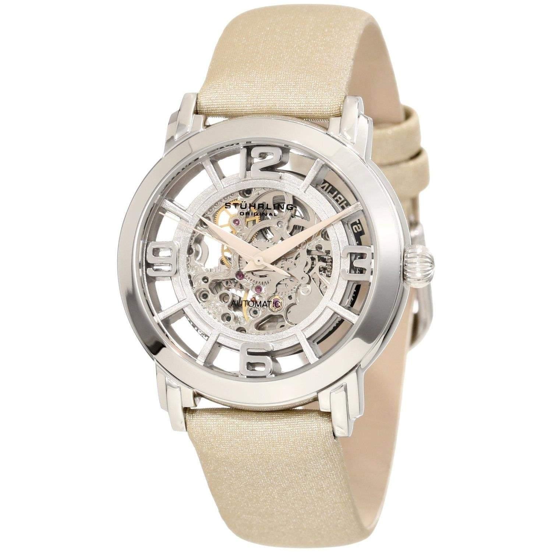 Stuhrling Classic Lady Winchester Tan Skeleton Armbanduhr Automatik 156121S2