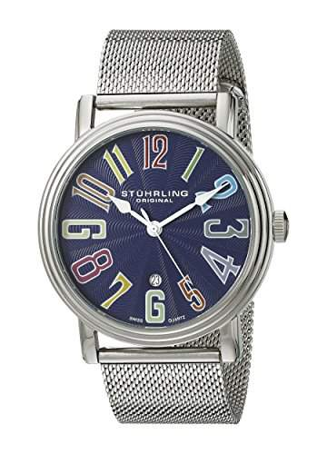 Stuhrling Original Herren 301M33116 Classic Delphi Roulette Elite Swiss Quartz Date Blue Dial Mesh Bracelet Uhr
