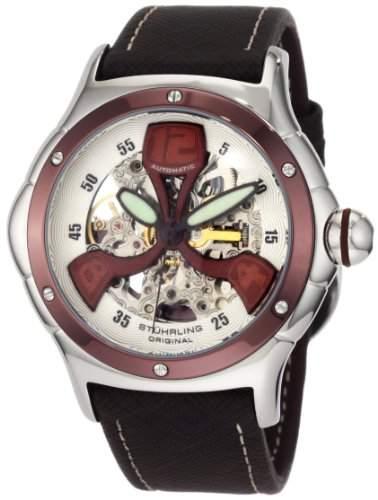 Stuhrling Original Herren Armbanduhr Alpine Skeleton Tonneau-Shaped Automatic 4AT3375K2