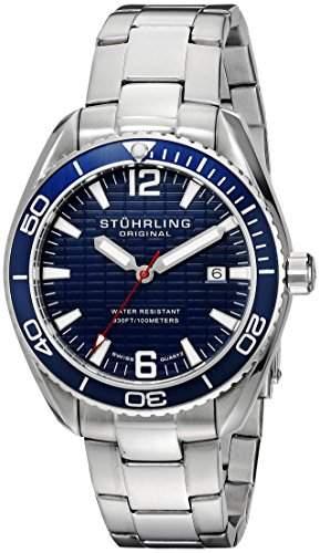 STUHRLING ORIGINAL Regatta 515Herren Armbanduhr mit Blau Zifferblatt Analog-Anzeige und Silber Edelstahl Armband 51503