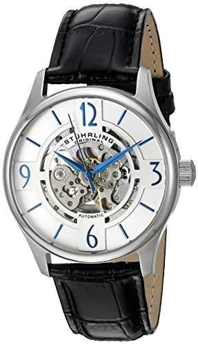 STUHRLING ORIGINAL Atrium Herren Automatik Uhr mit Silber Zifferblatt Analog-Anzeige und schwarz Lederband 55701