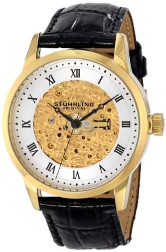 Stuhrling Herren 42mm Schwarz Leder Armband Edelstahl Gehaeuse Datum Uhr 58503