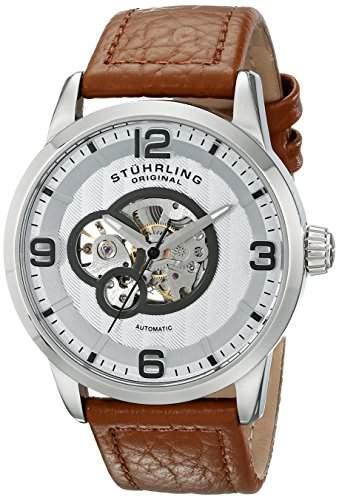STUHRLING ORIGINAL LEGACY Herren Automatik Uhr mit Silber Zifferblatt Analog-Anzeige und braunem Lederband 64801