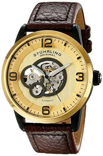 Stuhrling Legacy 648 Herren 43mm Automatikwerk Braun Leder Armband Uhr 64803