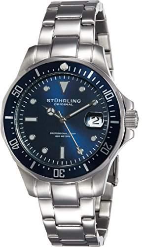 Stuhrling Original Herren-Armbanduhr Regatta Aquadiver 664 Analog Quarz