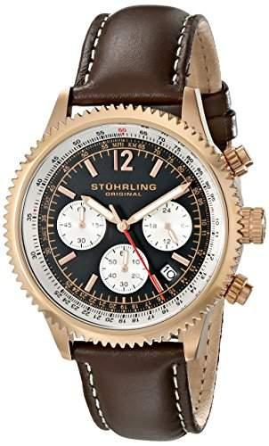 Stuhrling Original Herren-Armbanduhr Monaco Analog Quarz Leder 66904