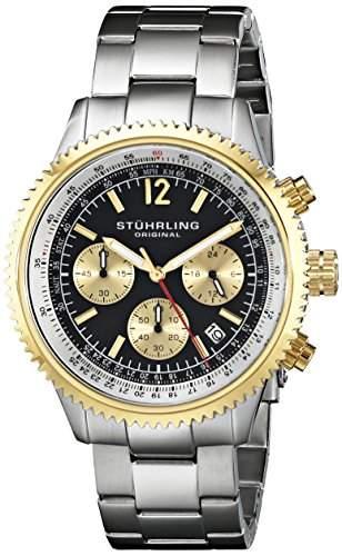 Stuhrling Original Herren-Armbanduhr Monaco 669B Analog Quarz Edelstahl 669B04