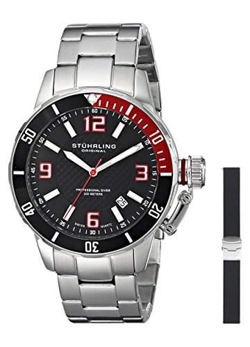 Stuhrling Original Herren-Armbanduhr Aquadiver Analog Quarz 67601SET