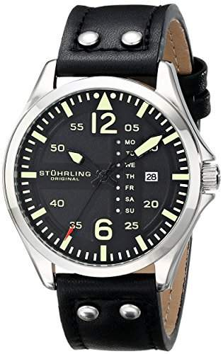 Stuhrling Original Herren-Armbanduhr Aviator 699 Analog Quarz