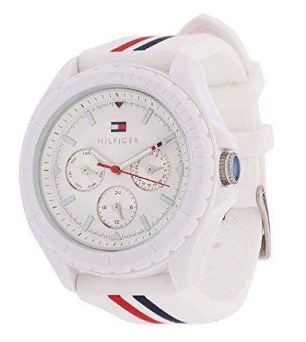 Tommy Hilfiger 1781424 PREPPY SPORT Uhr Damenuhr Kautschuk Kunststoff 30m Analog Datum weiss