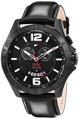 Tommy Hilfiger Herren 1790972 Cool Sport GMT Movement Black Leather Strap Armbanduhr