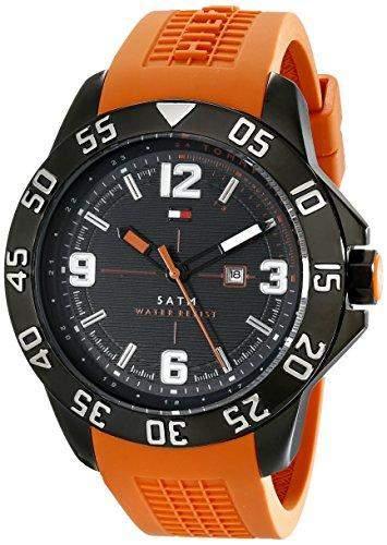 Tommy Hilfiger 1790985 COLE Uhr Herrenuhr Kautschuk Edelstahl schwarz 50m Analog Datum orange