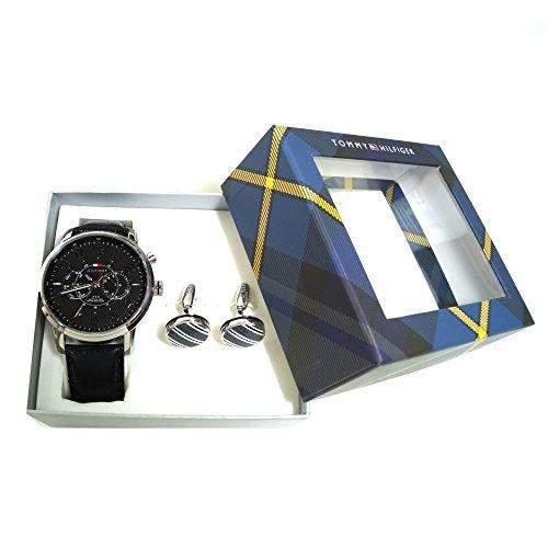Tommy Hilfiger 2770004 MENS HOLIDAY BOX Manschettenknoepfe grau Uhr Herrenuhr Lederarmband Edelstahl 50m Datum schwarz Geschenkset