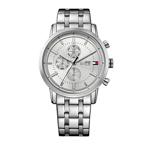 Tommy Hilfiger Armband Edelstahl Gehaeuse Quarz Zifferblatt Silber Chronograph 1791247