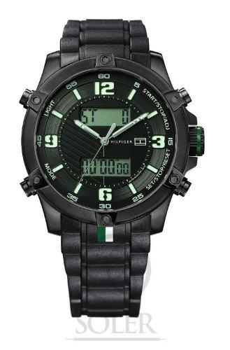 Tommy Hilfiger 1790782 Silikonband Edelstahl 50m Digital Datum Chronograph Licht Alarm schwarz