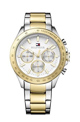 Tommy Hilfiger HUDSON Herren Quarz Uhr mit weissem Zifferblatt Analog Anzeige und Gelb Armband Edelstahl 1791226