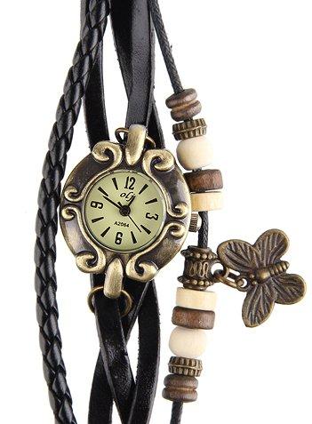Armbanduhr Echter Leder Hintere Teil aus Edelstahl Analog Schwarz WATCH 107 BL