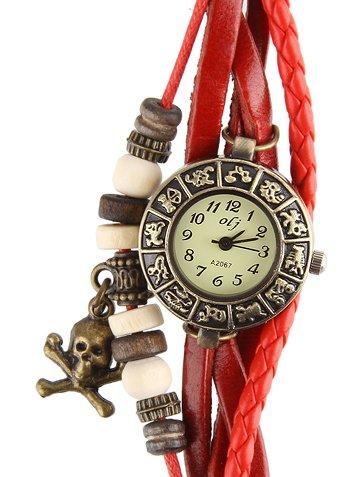 Armbanduhr Echter Leder Hintere Teil aus Edelstahl Analog Siam Rot