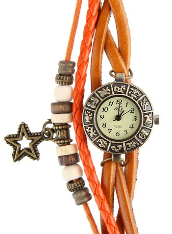 Armbanduhr Echter Leder Hintere Teil aus Edelstahl Analog Orange