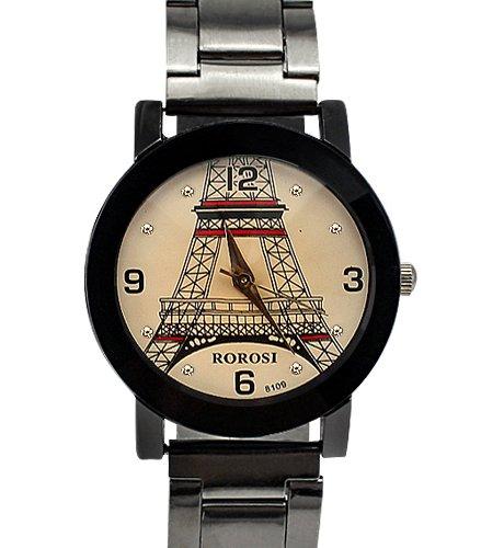 Armbanduhr Lasche und der hintere Teil aus Edelstahl Analog Eiffel Turm Design fuer Frauen