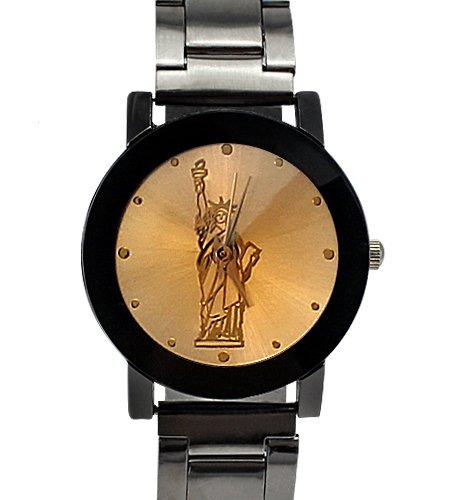 Armbanduhr Lasche und der hintere Teil aus Edelstahl Analog Freiheitsstatue Design fuer Frauen