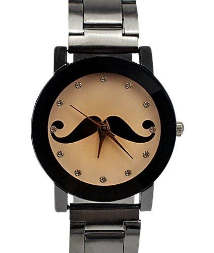 Armbanduhr Lasche und der hintere Teil aus Edelstahl Analog Schnurrbart Design fuer Frauen