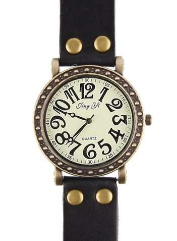 Schoene Uhr aus echtem Leder der hintere Teil wurde aus Edelstahl angefertigt - mit verrueckten Nummern Design