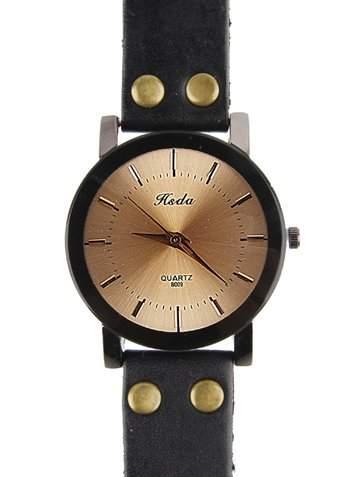 Schoene Uhr aus echtem Leder der hintere Teil wurde aus Edelstahl angefertigt