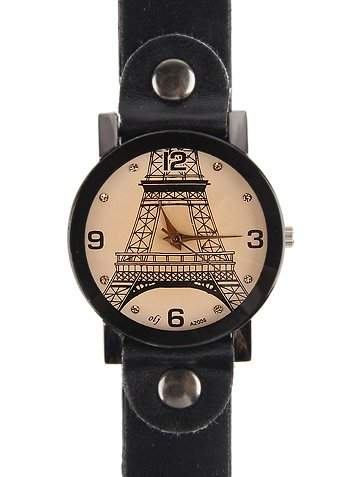 Armbanduhr Echter Leder Hintere Teil aus Edelstahl Analog - Schwarz