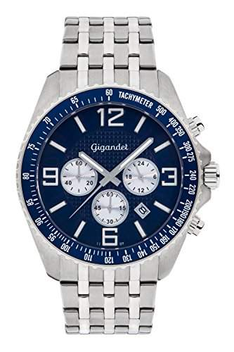 Gigandet Fast Track Herren Armbanduhr Chronograph Analog Quarz Silber Blau G12-006