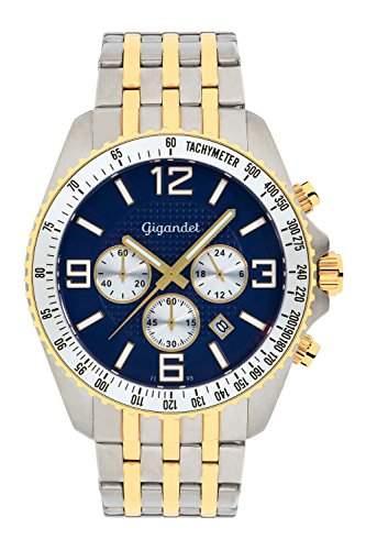 Gigandet Fast Track Herren Armbanduhr Chronograph Analog Quarz Gold Blau G12-010