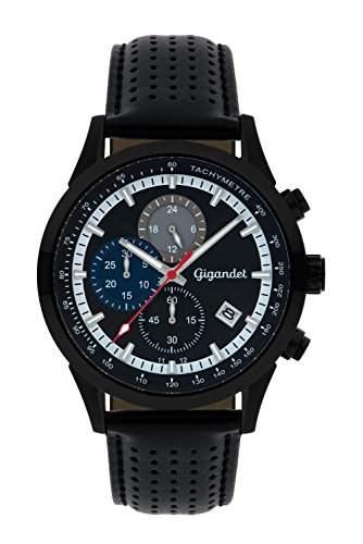 Gigandet COMPETITION Herren Quarz Chronograph - Armbanduhr mit analoger Anzeige - 100m10atm wasserdicht mit Datumsanzeige, schwarzem Lederarmband und schwarz-blau-weissem Zifferblatt - G17-003