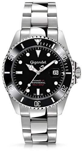 "Gigandet Herren Automatik-Armbanduhr ""Sea Ground"" Analog Edelstahlarmband Schwarz Silber G2-002"
