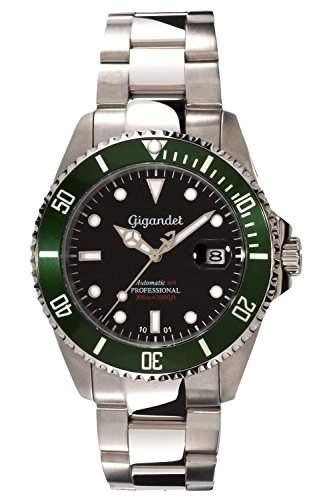 Gigandet Automatik Herren-Armbanduhr Sea Ground Taucheruhr Uhr Datum Analog Edelstahlarmband Schwarz Gruen G2-005