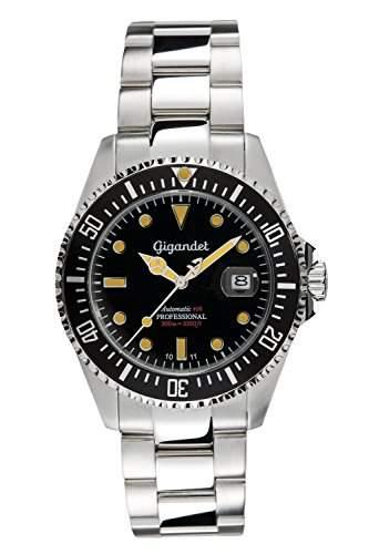 "Gigandet Herren Automatik-Armbanduhr ""Sea Ground"" Analog Edelstahlarmband Schwarz Silber G2-007"