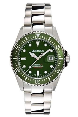 "Gigandet Herren Automatik-Armbanduhr ""Sea Ground"" Analog Edelstahlarmband Gruen Silber G2-008"